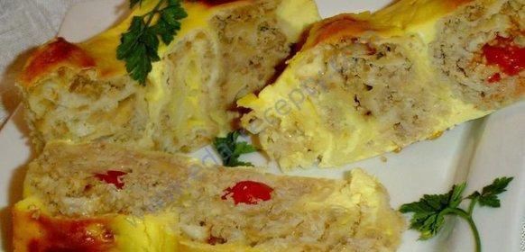 Пирог из лаваша и фарша с сыром с